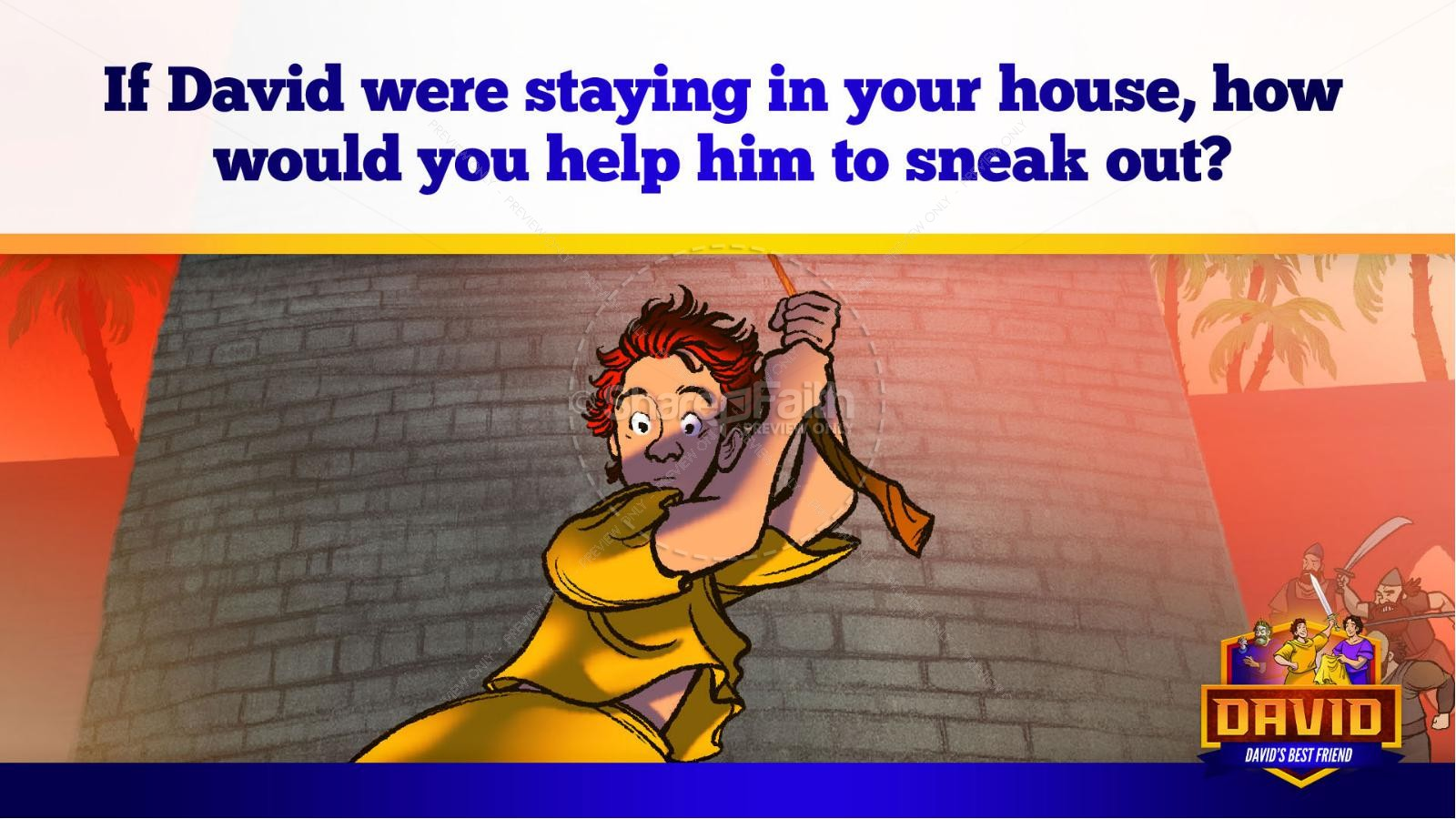 1 Samuel 18 19 David, Saul, & Jonathan Kids Bible Story | slide 44
