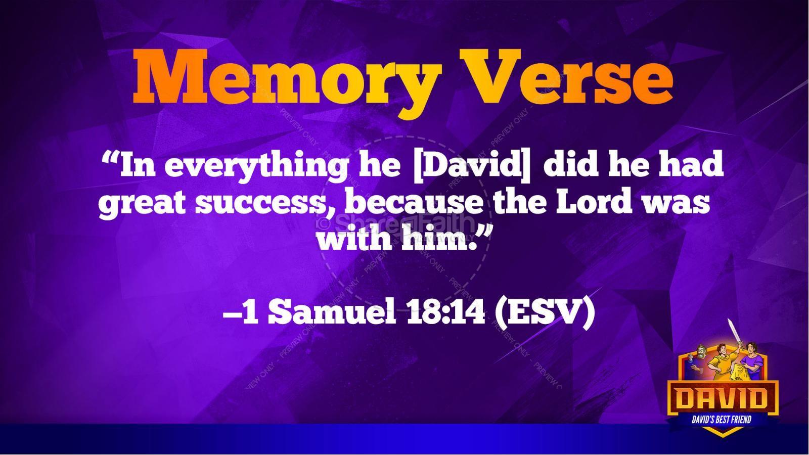 1 Samuel 18 19 David, Saul, & Jonathan Kids Bible Story | slide 48