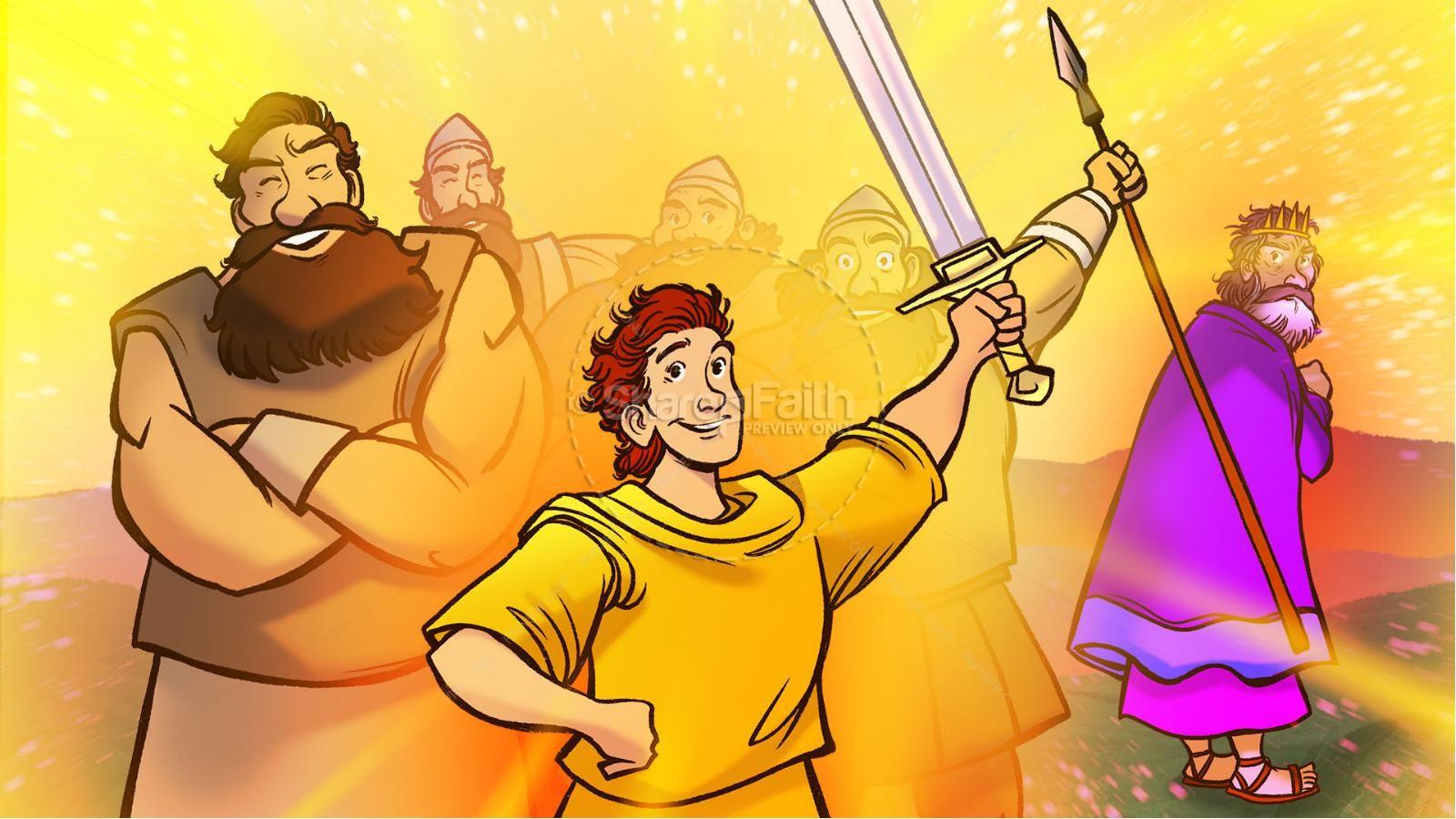 1 Samuel 18 19 David, Saul, & Jonathan Kids Bible Story | slide 8