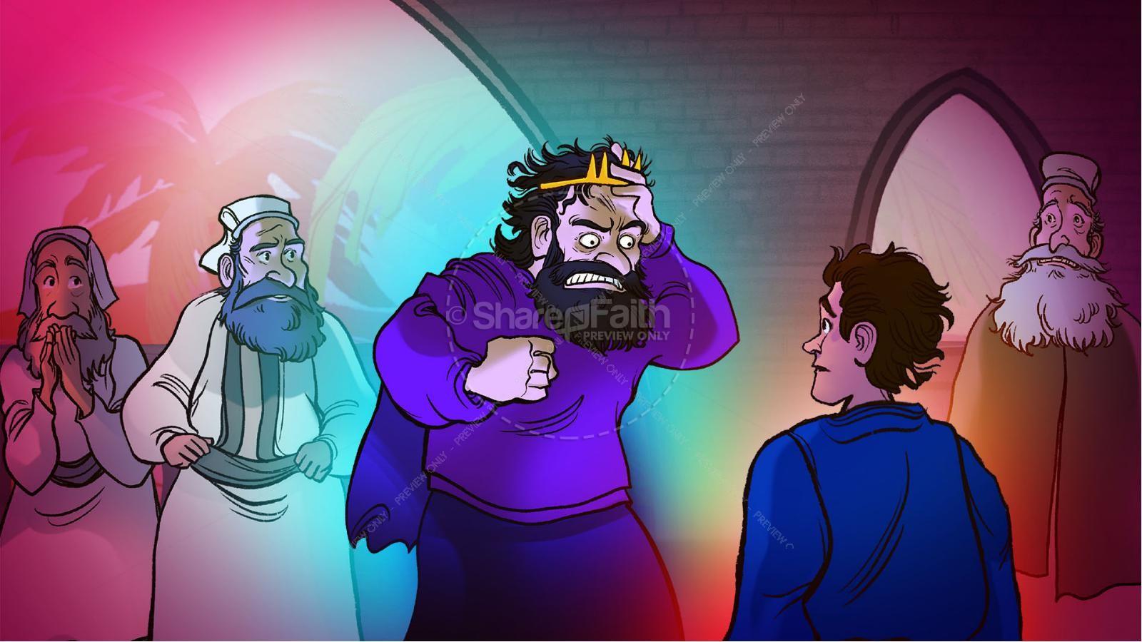 1 Samuel 18 19 David, Saul, & Jonathan Kids Bible Story | slide 9