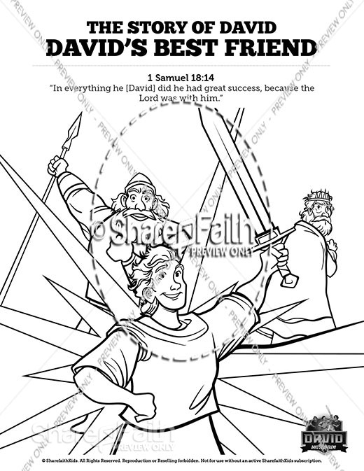 1 Samuel 18 19 David, Saul, & Jonathan Sunday School Coloring Pages