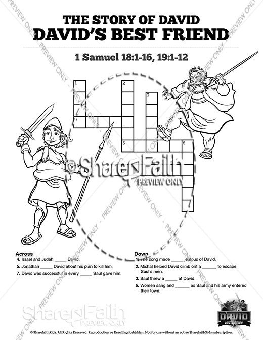 1 Samuel 18 19 David, Saul, & Jonathan Sunday School Crossword Puzzles
