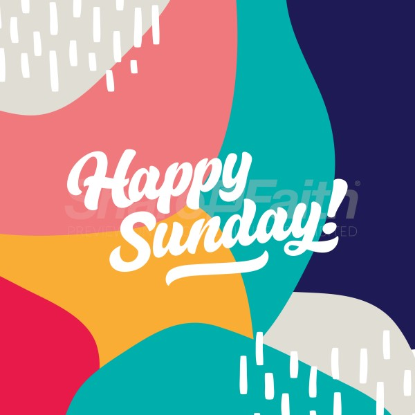 Happy Sunday Colorful Social Media Graphic