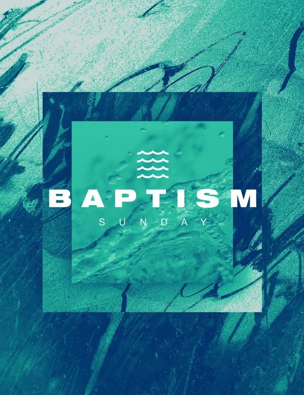 Baptism Sunday Green Church Flyer