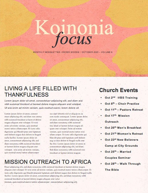 When God Gives You Lemons Church Newsletter
