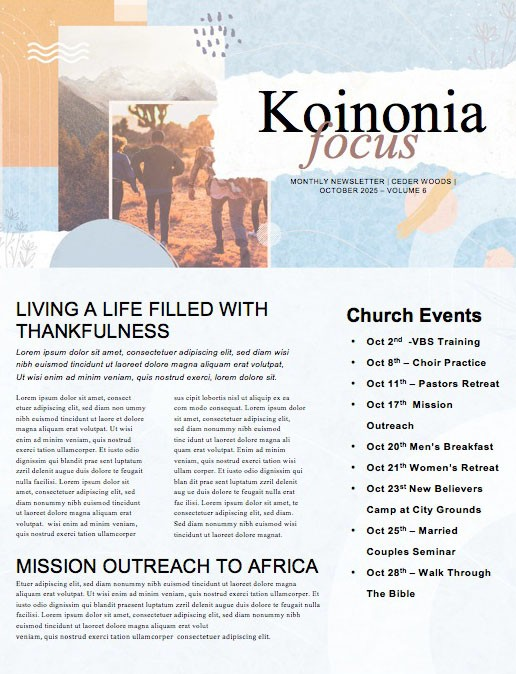 Small Groups Big Difference Church Newsletter