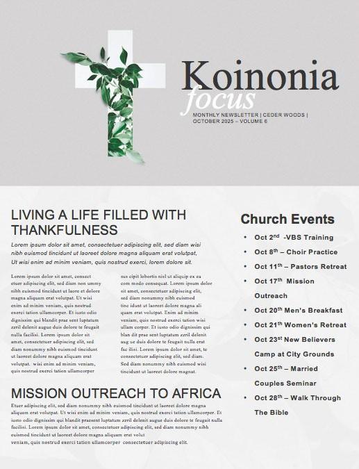 Communion Sunday Cross Church Newsletter
