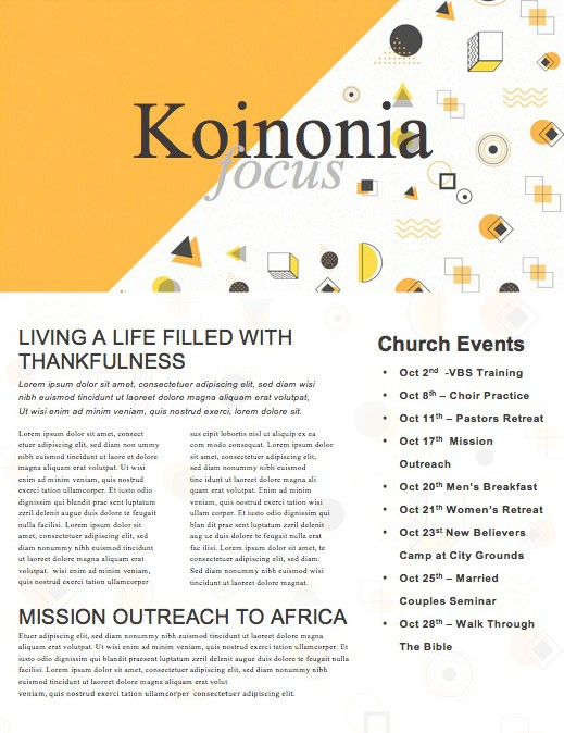 Pastor Appreciation Yellow Church Newsletter