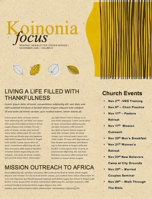 Fall Festival Leaves Church Newsletter