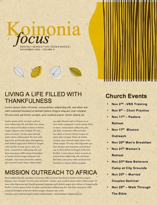 Fall Festival Leaves Church Newsletter