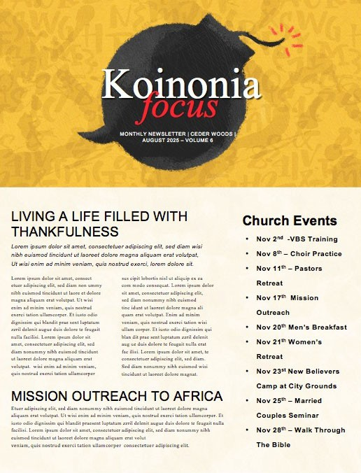 Power Of Words Church Newsletter