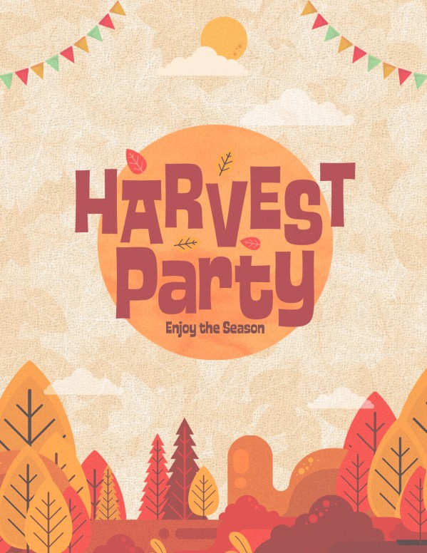 Autumn Harvest Party Church Flyer