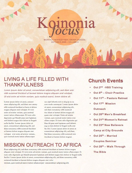 Autumn Harvest Party Church Newsletter
