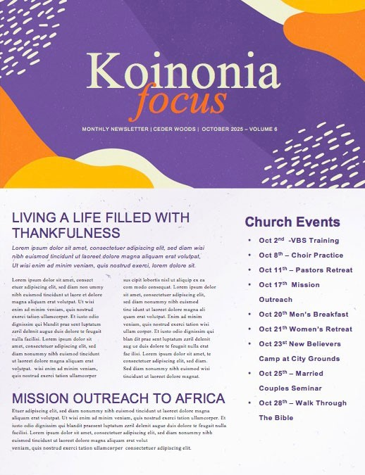 Purple Trunk Or Treat Church Newsletter