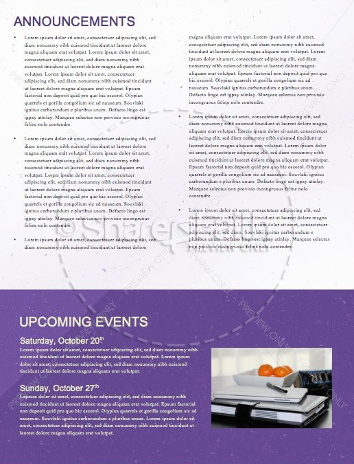 Purple Trunk Or Treat Church Newsletter