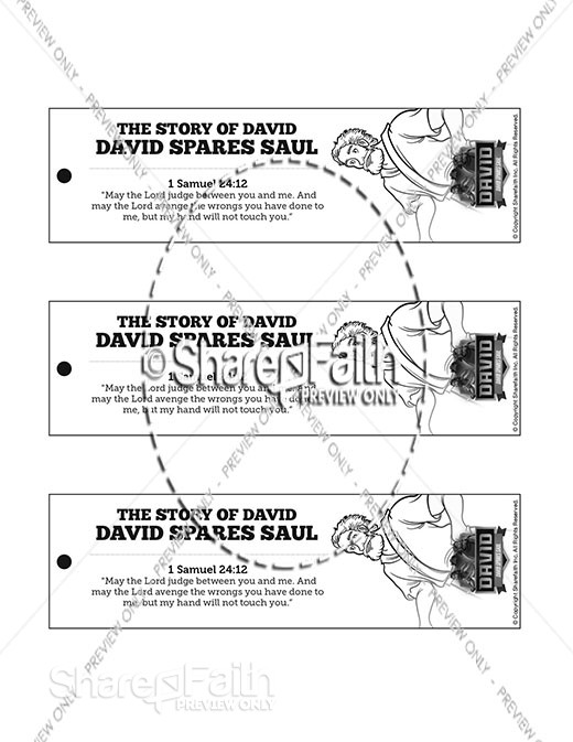 1 Samuel 23 24 David Spares Saul Bible Bookmarks