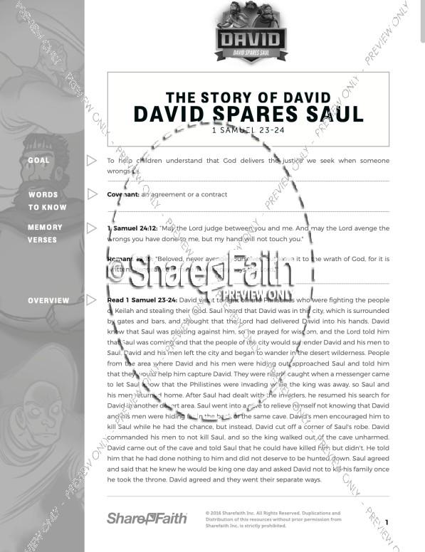 1 Samuel 23 24 David Spares Saul Curriculum