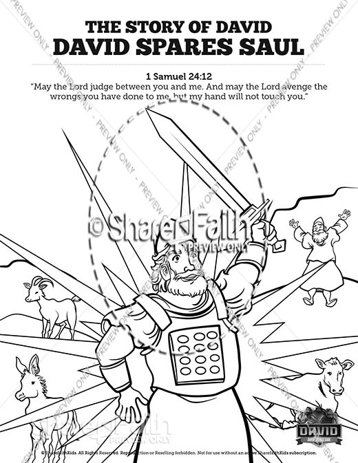 1 Samuel 23 24 David Spares Saul Sunday School Coloring Pages