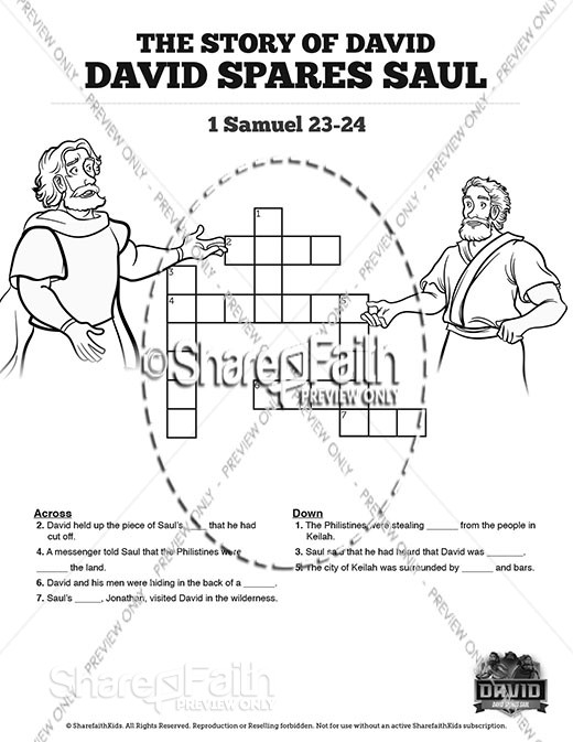 1 Samuel 23 24 David Spares Saul Sunday School Crossword Puzzles