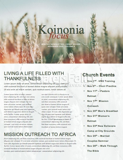 Give Thanks Field Church Newsletter