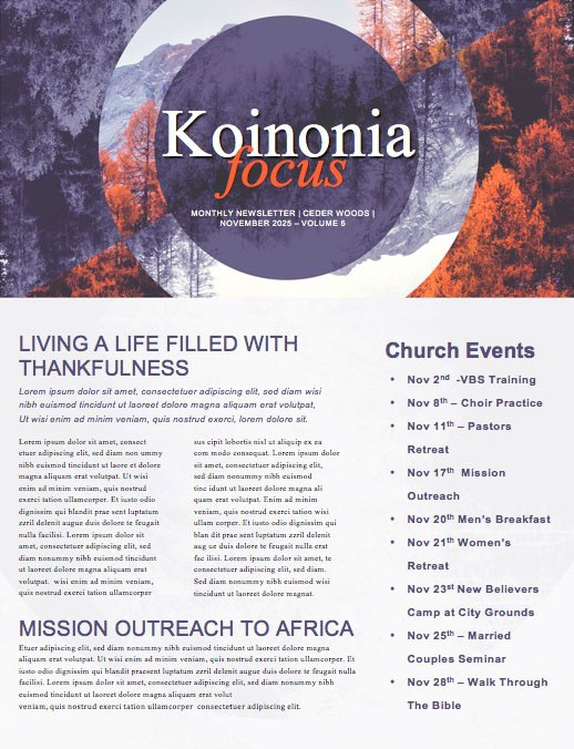 Fall Back Purple Church Newsletter