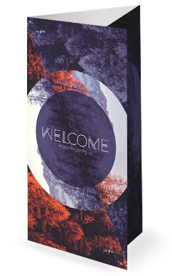 Fall Back Purple Trifold Church Bulletin
