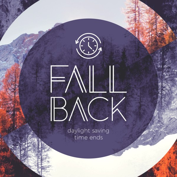 Fall Back Purple Social Media Graphic
