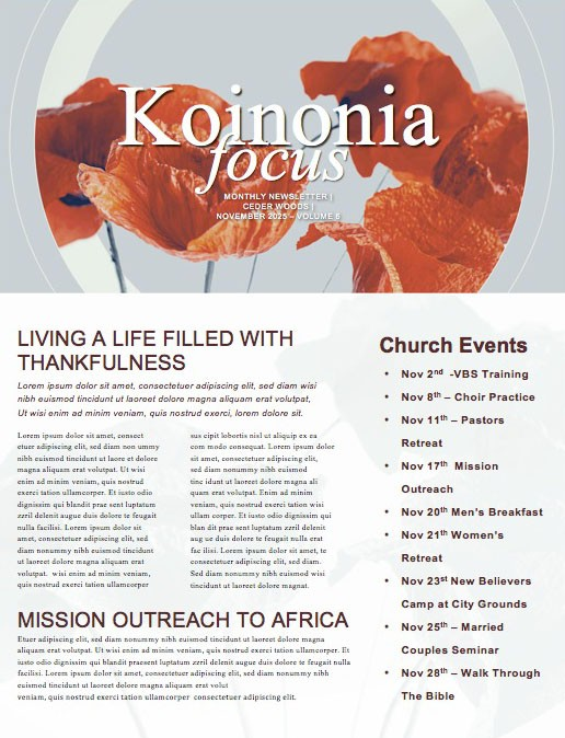 Remembrance Day Poppies Church Newsletter