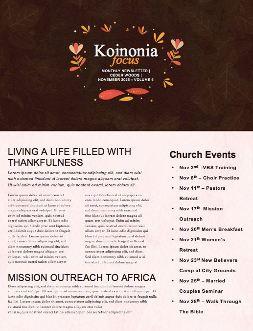 Happy Thanksgiving Brown Church Newsletter