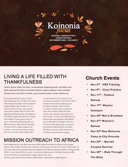 Happy Thanksgiving Brown Church Newsletter