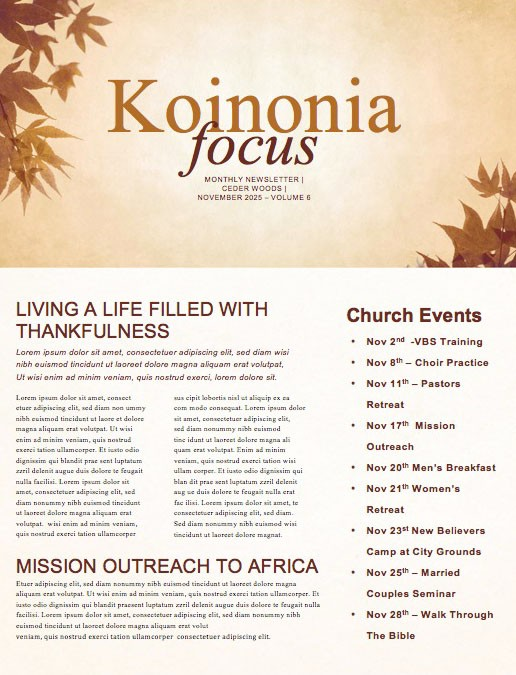 Grateful Thanksgiving Church Newsletter