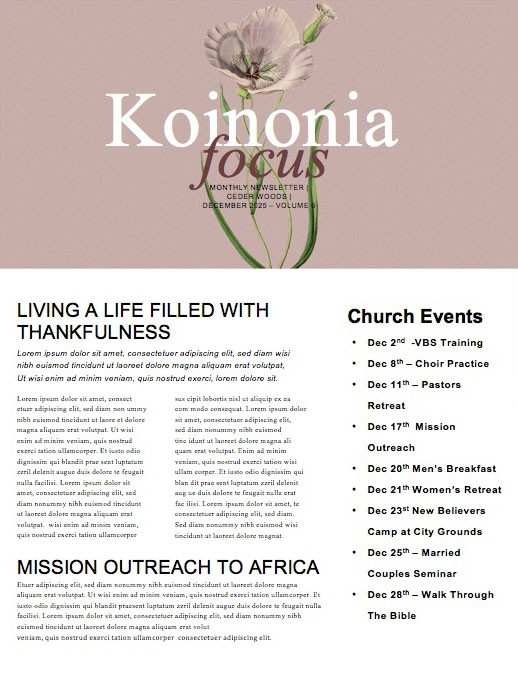 More Than Enough Church Newsletter
