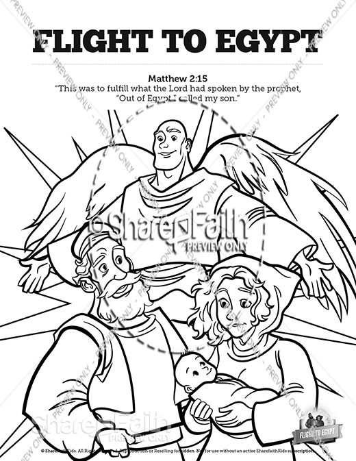 Matthew 2 Flight To Egypt Sunday School Coloring Pages
