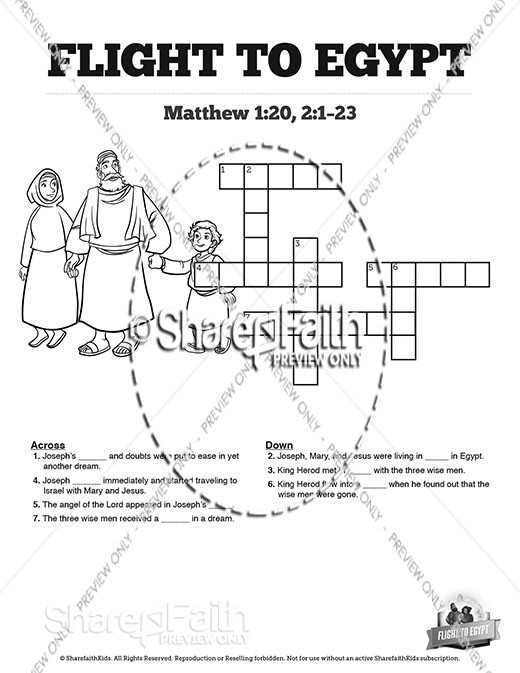 Matthew 2 Flight To Egypt Sunday School Crossword Puzzles
