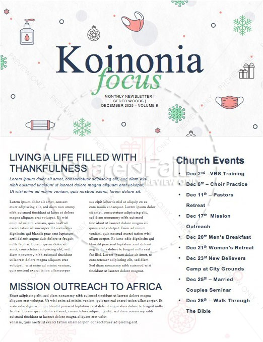 Pandemic Christmas Church Newsletter