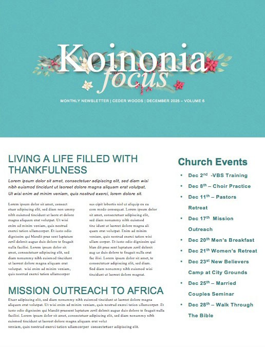 Simply Christmas Church Newsletter