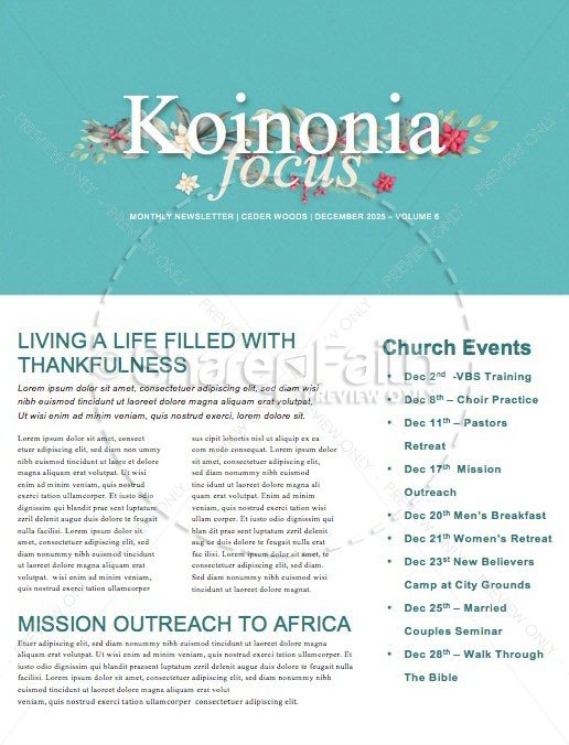 Simply Christmas Church Newsletter | page 1