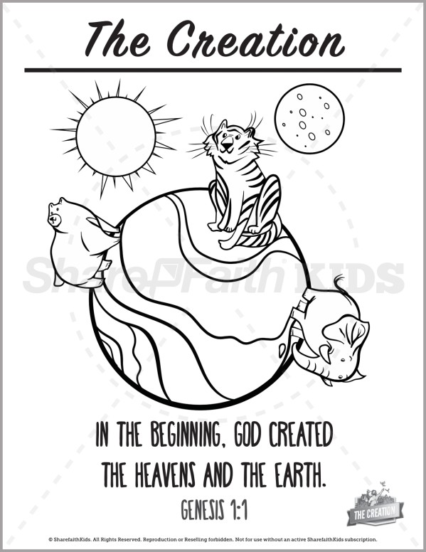 Genesis 1 The Creation Story Preschool Coloring Pages