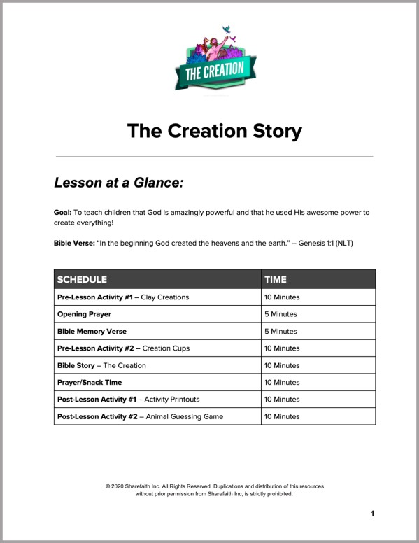 Genesis 1 The Creation Story Preschool Curriculum