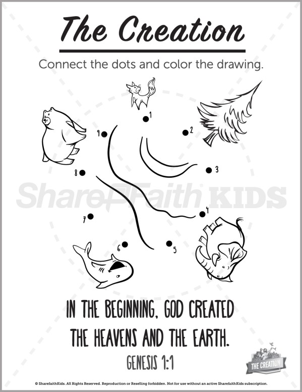 Genesis 1 The Creation Story Preschool Dot to Dot