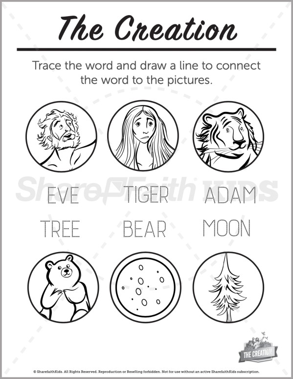 Genesis 1 The Creation Story Preschool Word Picture Match