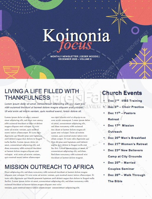 Christmas Eve Online Church Newsletter