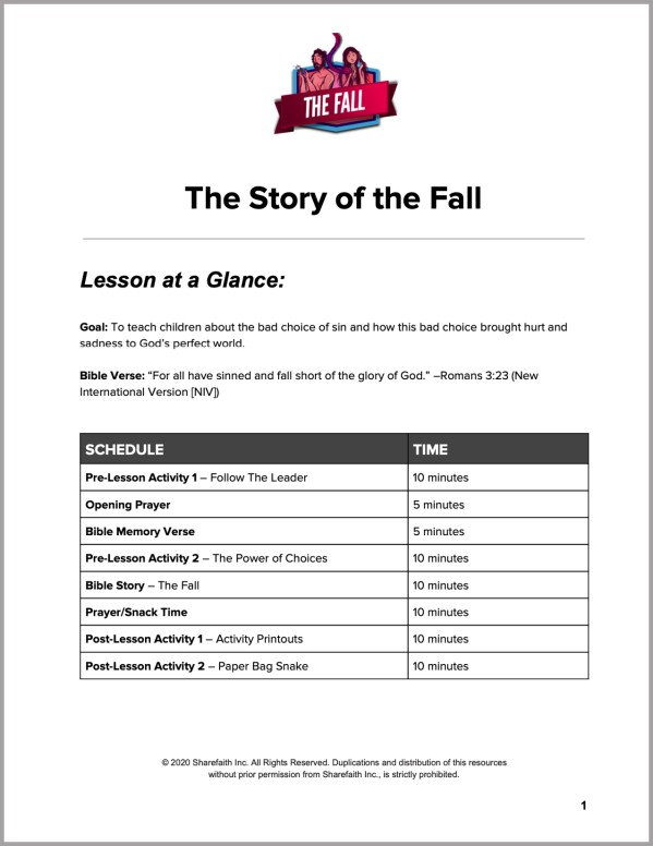 Genesis 3 The Fall Preschool Curriculum