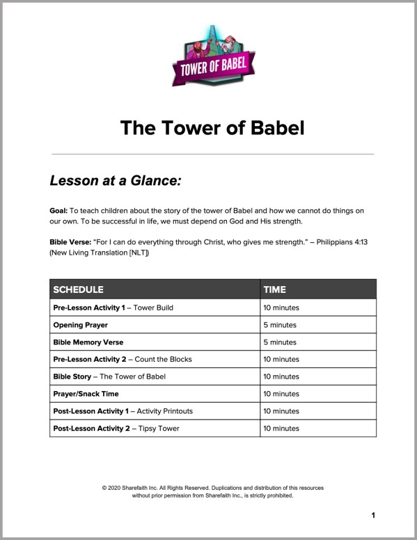 Genesis 11 Tower of Babel Preschool Curriculum