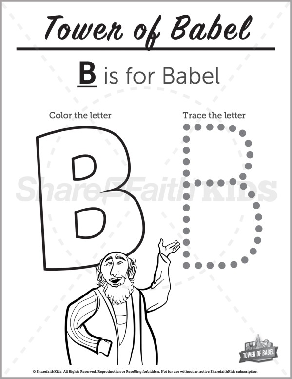 Genesis 11 Tower of Babel Preschool Letter Coloring