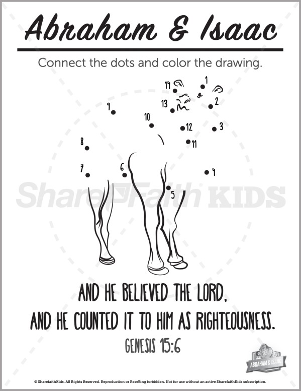Genesis 22 Abraham and Isaac Preschool Dot to Dot