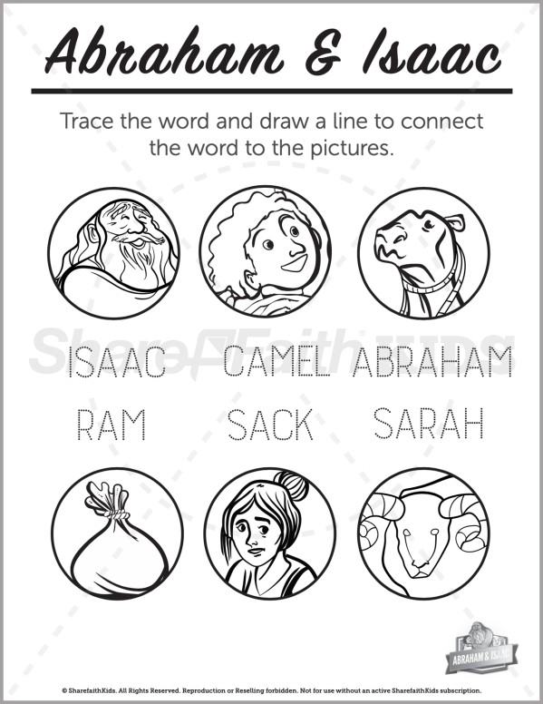 Genesis 22 Abraham and Isaac Preschool Word Picture Match