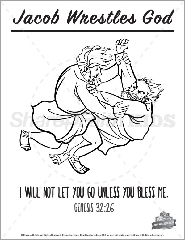 Genesis 32 Jacob Wrestles with God Preschool Coloring Pages