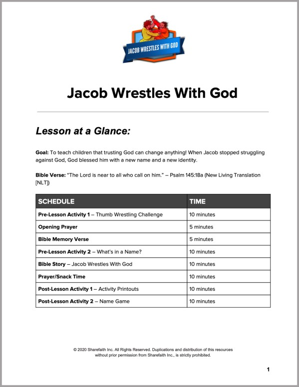 Genesis 32 Jacob Wrestles with God Preschool Curriculum