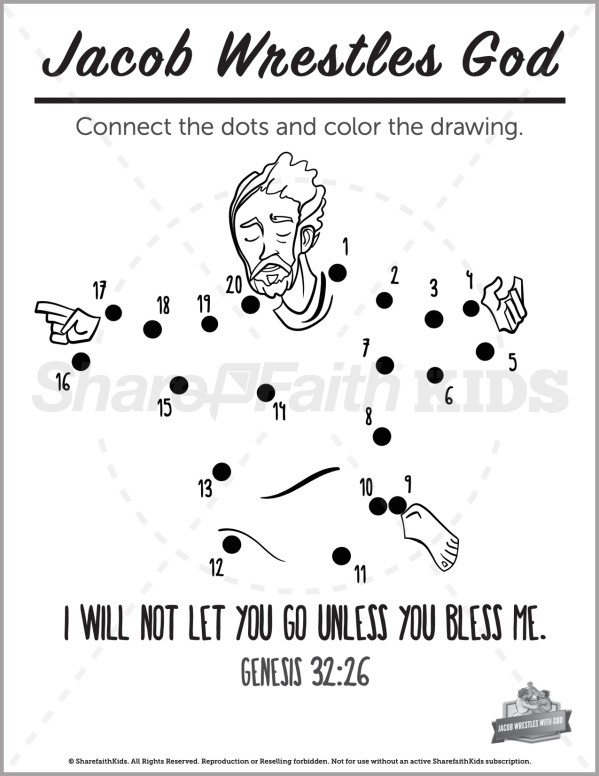 Genesis 32 Jacob Wrestles with God Preschool Dot to Dot